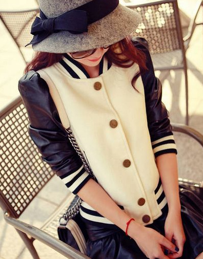 Chic varsity style leather jacket · fashion struck · online store powered by storenvy
