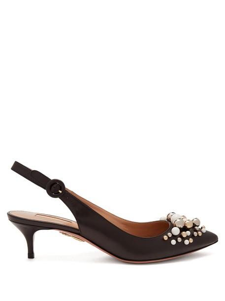 Aquazzura embellished pumps leather black shoes