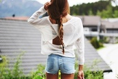 t-shirt,white t-shirt,transparent,summer,shorts,blouse,open back,white,top,shirt,sweater,loose,wrap,High waisted shorts,cut off shorts,jeans,denim,white shirt,amazing,clothes,boho,blue jeans,blue jean shorts,girly,long sleves,ivory sweater,long sleeves,backless top,backless shirt