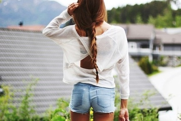 loose fit open back white sweater wrap high waisted short cut off shorts jeans denim t-shirt white t-shirt transparent summer shorts shirt white shirt amazing