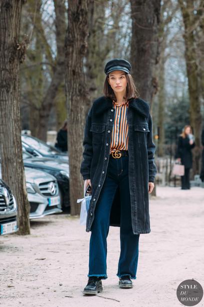88dd9fb326fd hat black hat baker boy hat denim coat jeans high waisted shirt striped top  sailor hat