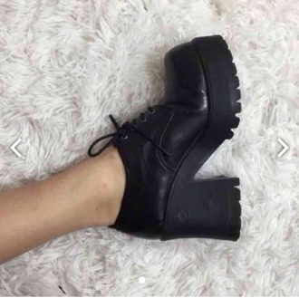 shoes grunge black chunky heels chunky boots 90s style