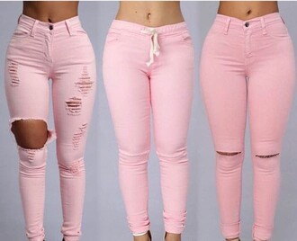 jeans pink pants pink pink jeans light pink destroyed skinny jeans