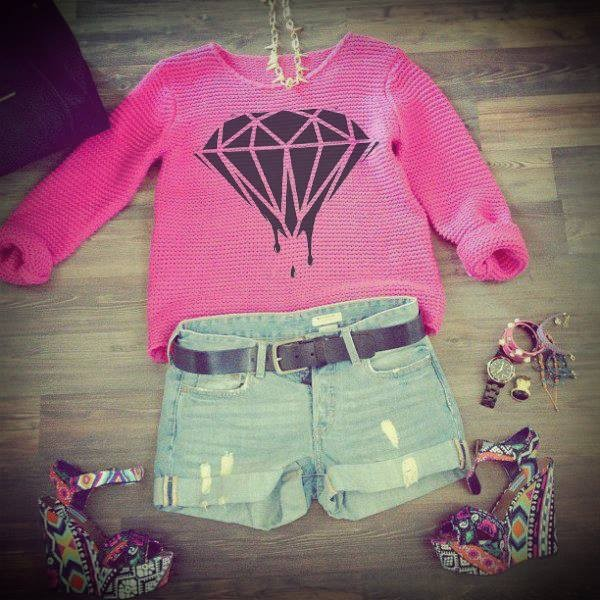 shoes heels sweater t-shirt diamonds pink