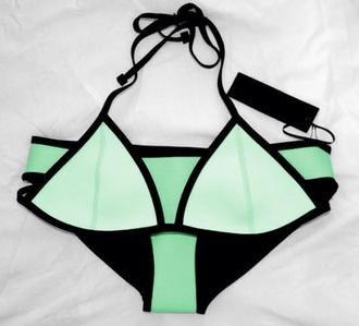 swimwear mint neon bikini summer