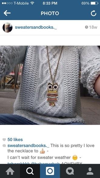 blouse cute sweater teen hipster owl knitwear