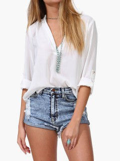 White v neck chiffon blouse with rolled half sleeve