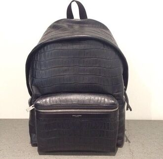 bag backpack school bag black leather crocodile