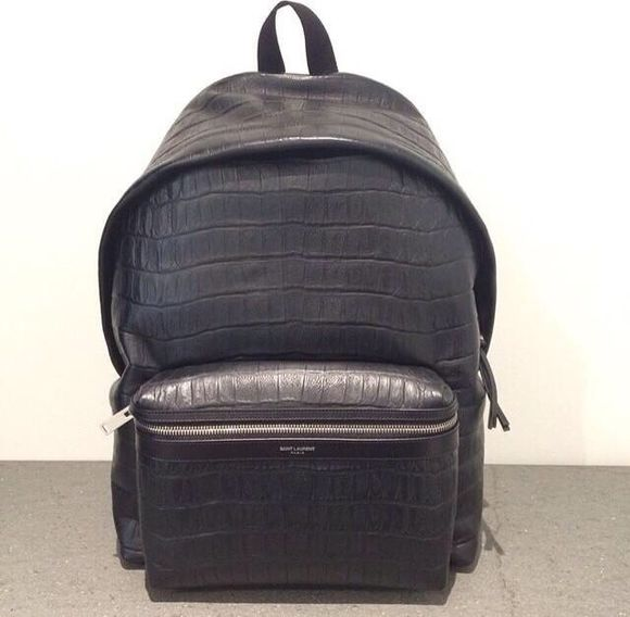 black leather bag backpack school bag crocodile