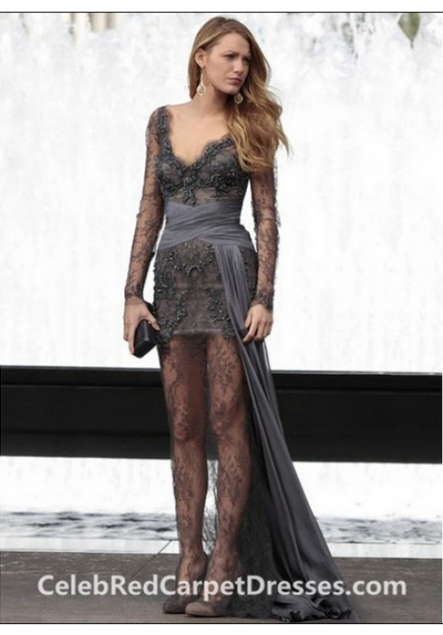Blake Lively Long-sleeve Grey Lace Evening Prom Dress in Gossip Girl