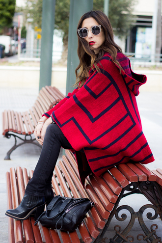 shoes and basics blogger sunglasses poncho red coat