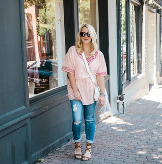 gbo fashion blogger jeans shoes bag jewels sunglasses pink top skinny jeans ripped jeans anthropologie peasant top steve madden flat sandals rebecca minkoff crossbody bag