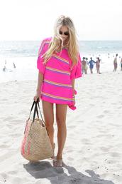 cheyenne meets chanel,dress,t-shirt,sunglasses,bag,beach dress,pink,blonde hair,hot pink,beach,pink dress