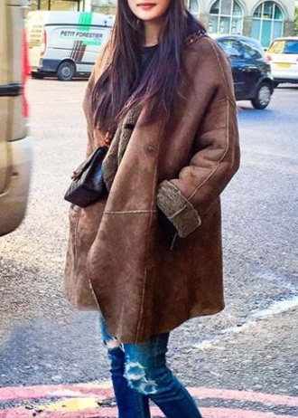 coat outfit suede suede jacket trench coat jacket shearling jacket brown fashion clothes girly girly wishlist instagram pinterest
