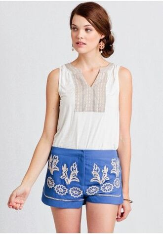 shorts embroidered shorts blue shorts embroidered top white top summer outfits