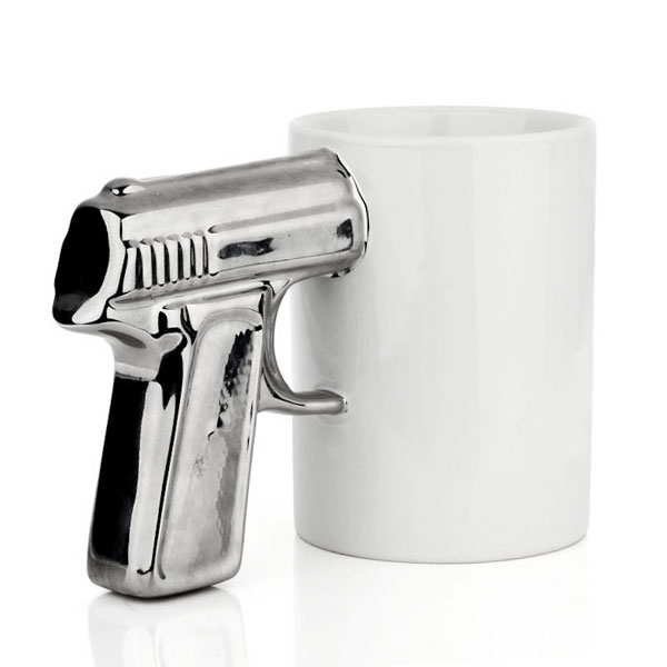 Creative gun pistol design handle ceramic mug cup