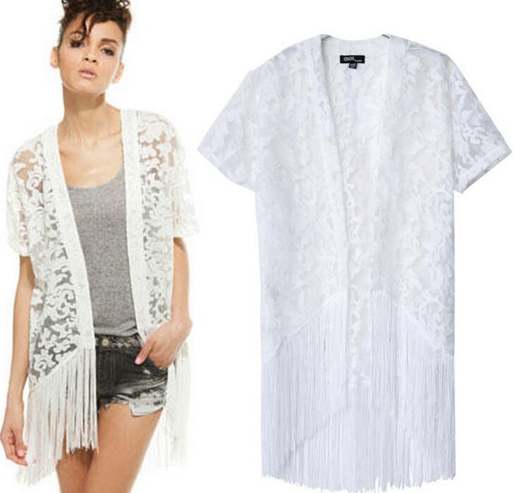 Floral lace white fringe kimono · fashion struck · online store powered by storenvy