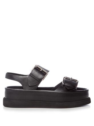 sandals flatform sandals leather black shoes