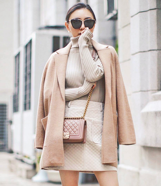coat tumblr camel camel coat turtleneck nude sweater sweater skirt mini skirt bag all nude everything sunglasses