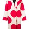 Msgm polka dots print coat, women's, size: 44, nude/neutrals, wool/polyamide/viscose