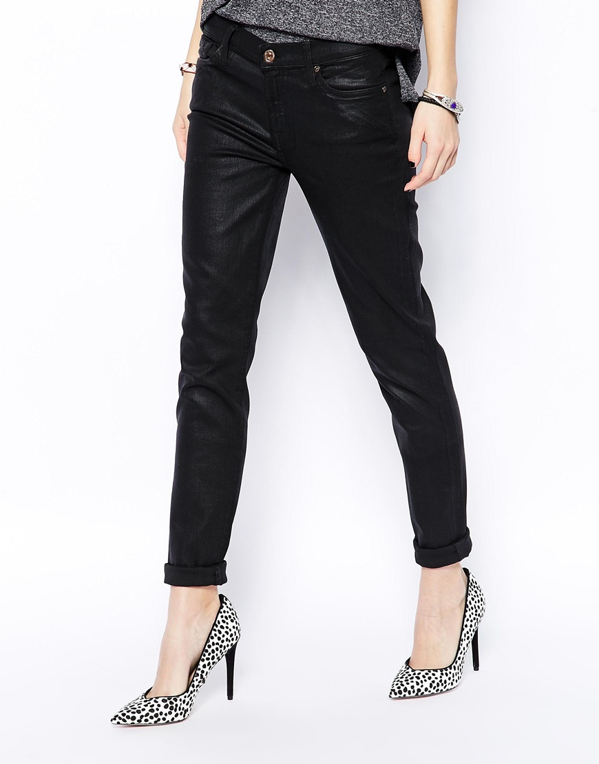 7 for all mankind leather look skinny jeans at asos.com