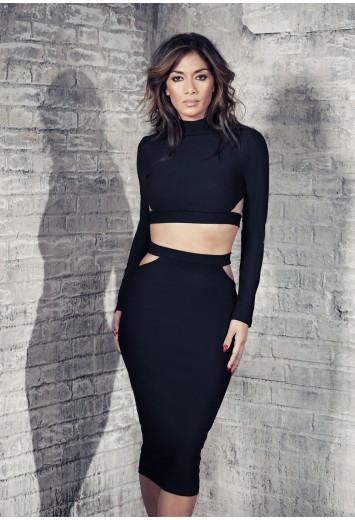 Nicole x cut out midi skirt black