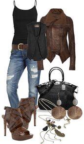 shoes,clothes,jacket,coat,brown,big collar,suede,leather,vest