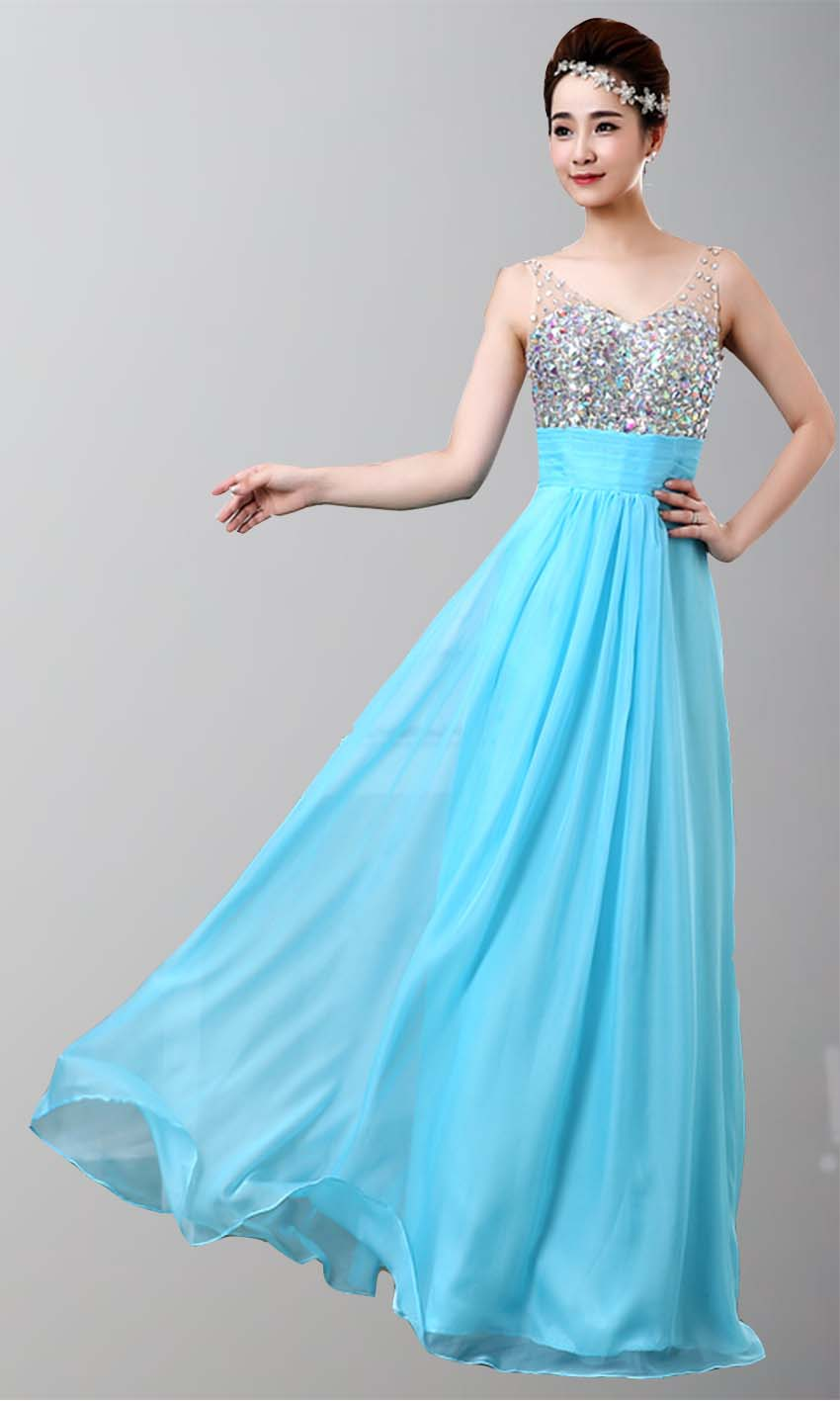 Teal Rhinestone empire Long Lace Prom Dresses 2015 KSP340 [KSP340 ...