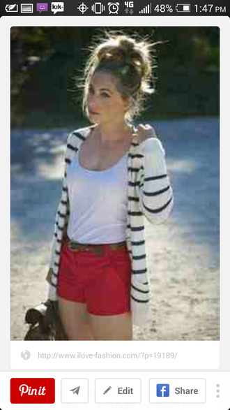shorts white tank top red shorts black and white striped cardigan