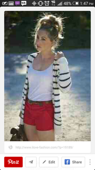 shorts red shorts black and white striped cardigan white tank top