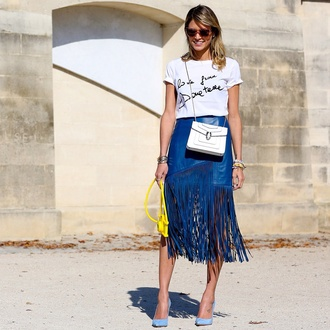 skirt spring style summer top summer skirt fashion stylish cool blue skirt fringes chic western look dope streetwear streetstyle india love wow lovely love midi leather skirt