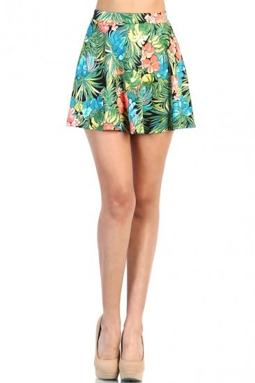 LoveMelrose.com From Harry & Molly | Tropical Print Skater Skirt