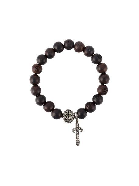 Loree Rodkin wood women charm bracelet silver brown grey jewels