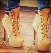 shoes,timberlands,high heels,tan lace up booties,timberland,original timberland high heels,timberland heels,skirt,timberland heels stilletos,ankle boots