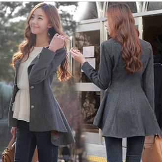 coat grey jacket streetwear streetstyle asian korean fashion korean style lolita cute fashion fall outfits winter coat rose wholesale