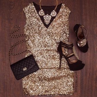 short dress mini dress gold gold dress new years eve 2015