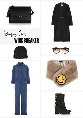 garance dore blogger jumpsuit black coat black boots fur scarf hat