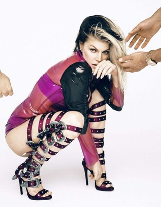 shoes sandals top bodysuit fergie editorial gladiators