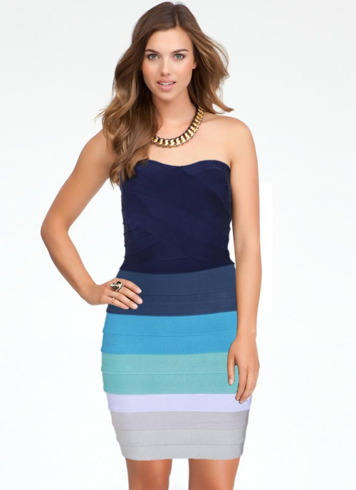 Bqueen Blue Ombre Strapless Bandage Dress H589