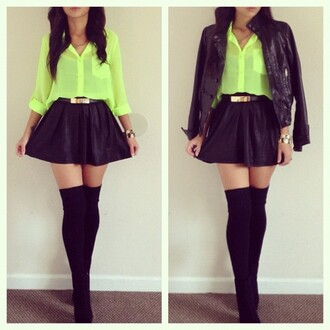 blouse green blouse neon green neon black stockings black skirt mini skirt gold belt skirt