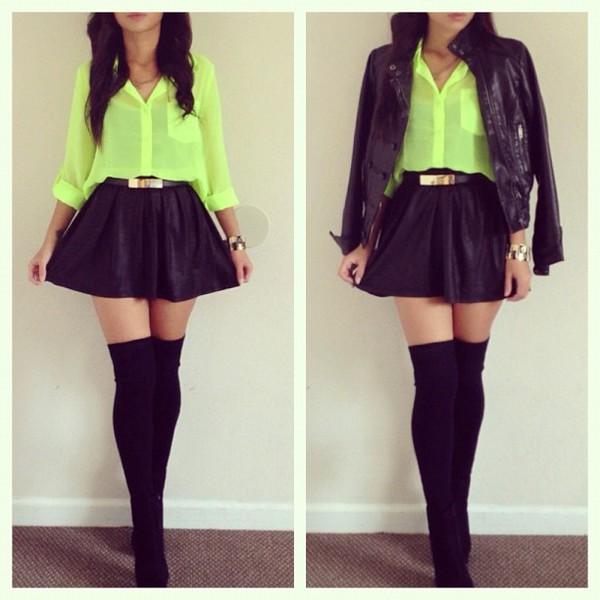 Neon Green Shirt Womens Fashion Shirts Long Sleeve Shirts T