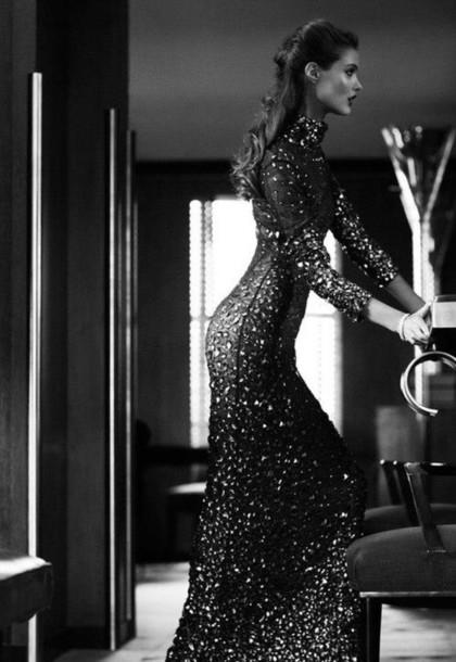dress long dress clothes black sequins long formal