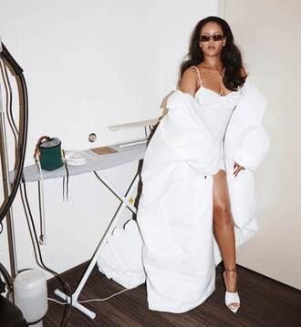 jacket oversized oversized jacket rihanna mules all white everything instagram top sunglasses