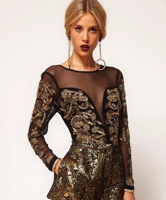 dress body leotard gold black asos sheer mesh sweetheart neckline