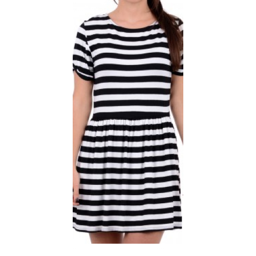 Black and white stripy skater dress