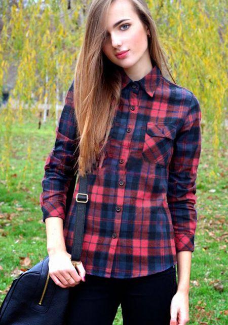 Women's lapel long sleeve grid printing splice leather shoulder slim fit shirt online
