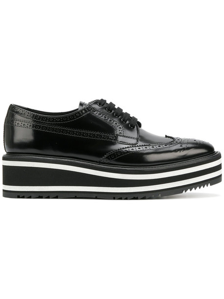 Prada women leather black shoes