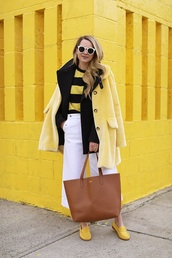 coat,top,pants,white pants,culottes,cropped,cropped pants,sunglasses,shoes,yellow coat,yellow,striped top,stripes