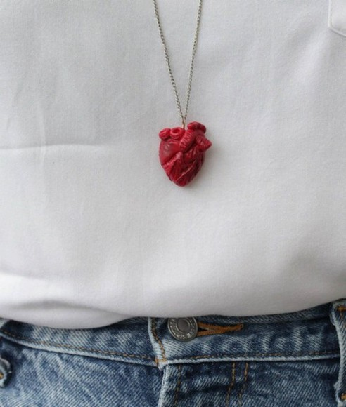 jewels necklace heart jeans clothes white shirt
