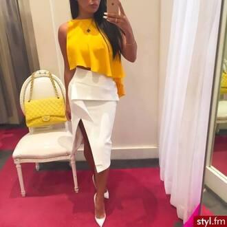 skirt white skirt asymmetrical asymmetrical skirt top